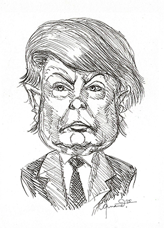 Caricature, Cartoon, Sketch of Donald Trump - Republican candidate for US 2016 Presidential elections - Parody, comedy by Anand - Published in QSM Magazine.